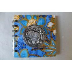 Notizbuch Stoff Thailand mit Elefant Spiralbindung 11x11 cm - THAI-S-049