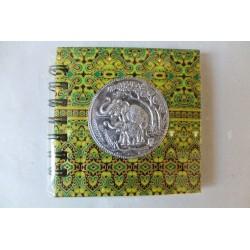 Notizbuch Stoff Thailand mit Elefant Spiralbindung 11x11 cm - THAI-S-050