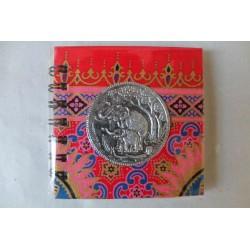 Notizbuch Stoff Thailand mit Elefant Spiralbindung 11x11 cm - THAI-S-051