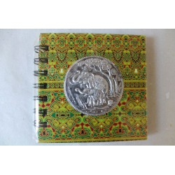 Notebook fabric Thailand with elephant spiral binding 11x11 cm - THAI-S-053