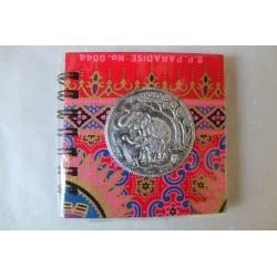Notizbuch Stoff Thailand mit Elefant Spiralbindung 11x11 cm - THAI-S-055