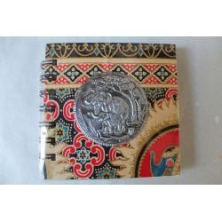 Notizbuch Stoff Thailand mit Elefant Spiralbindung 11x11 cm - THAI-S-056