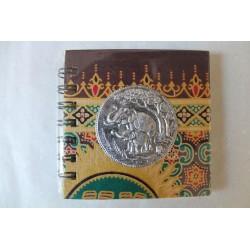 Notizbuch Stoff Thailand mit Elefant Spiralbindung 11x11 cm - THAI-S-057