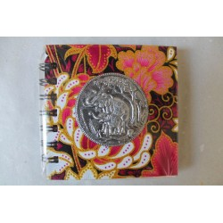 Notizbuch Stoff Thailand mit Elefant Spiralbindung 11x11 cm - THAI-S-058