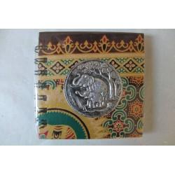 Notizbuch Stoff Thailand mit Elefant Spiralbindung 11x11 cm - THAI-S-059