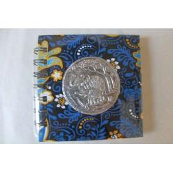 Notizbuch Stoff Thailand mit Elefant Spiralbindung 11x11 cm - THAI-S-060
