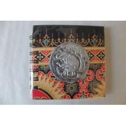 Notizbuch Stoff Thailand mit Elefant Spiralbindung 11x11 cm - THAI-S-061