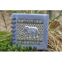 Notizbuch Naturfaser Thailand Elefant Spiralbindung 11x11 cm Grau