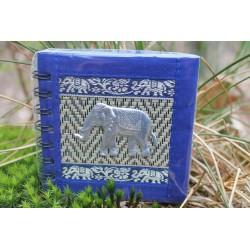 Notizbuch Naturfaser Thailand Elefant Spiralbindung 11x11 cm Blau