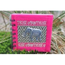 Notizbuch Naturfaser Thailand Elefant Spiralbindung 11x11 cm Rosa