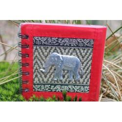 Notizbuch Naturfaser Thailand Elefant Spiralbindung 11x11 cm Rot