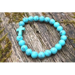 Turquoise beads bracelet cross religion belief 15.8 cm
