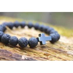 Lavaperlen Armband Hämatit Kreuz Religion Glauben 15,8 cm
