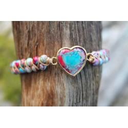 Jaspis Armband Herzform Herz Steinherz emotionale Stabilität
