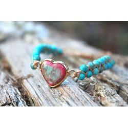 Türkis Armband Herzform Leidenschaft Herz Perlenarmband