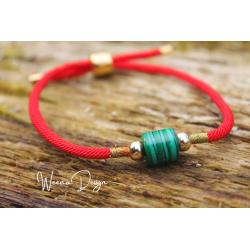 Malachite bracelet red cord hope and meditation