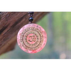 Orgonite Orgone Pendant with Chain OM Sign Pink Spirituality Energy