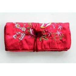 Jewelery pouch jewelery storage made of kusty silk, red