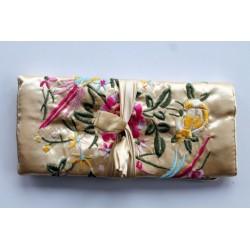 Jewelery pouch jewelery storage made of kusty silk, Hellbeige