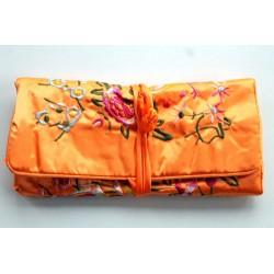 Jewelery pouch jewelery storage made of kusty silk, orange