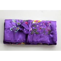 Jewelery pouch jewelery storage made of kusty silk, violett