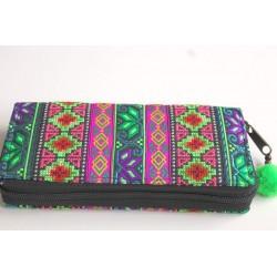 Geldbörse Brieftasche Portemonnaie groß Hmong Stoff - BÖRSE654