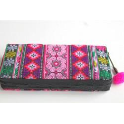 Geldbörse Brieftasche Portemonnaie groß Hmong Stoff - BÖRSE661