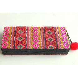 Geldbörse Brieftasche Portemonnaie groß Hmong Stoff - BÖRSE664
