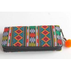 Geldbörse Brieftasche Portemonnaie groß Hmong Stoff - BÖRSE665