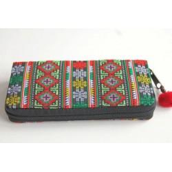 Geldbörse Brieftasche Portemonnaie groß Hmong Stoff - BÖRSE666