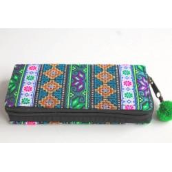 Geldbörse Brieftasche Portemonnaie groß Hmong Stoff - BÖRSE668