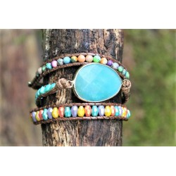 Wrap bracelet triple amazonite for balance and calming