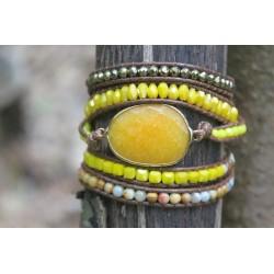 Wrap bracelet five times yellow jade for harmony