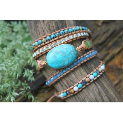 Wrap bracelet fivefold jasper oval emotional stability meditation protection bracelet