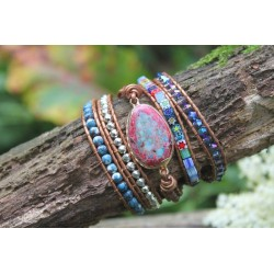 Wrap bracelet fivefold jasper oval emotional stability meditation