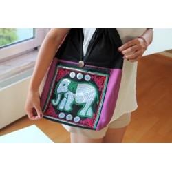 2. Wahl: Schultertasche Handtasche im Boho-Stil aus Thailand mit Elefant
