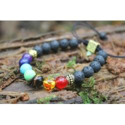Chakra bracelet 7 Chakra bracelet lava pearls 8 mm tree of life pearl gold