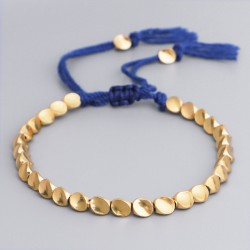 Tibetan bracelet brass beads Buddhism happiness bracelet blue