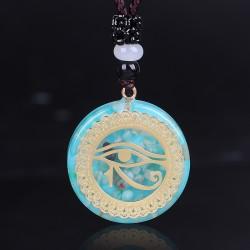 Orgonite orgone pendant with chain Horus eye light blue spirituality energy