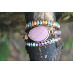 Wrap bracelet three-ply rhodonite beads bracelet yoga meditation healing effect