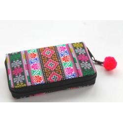 Geldbörse Brieftasche Portemonnaie groß Hmong Stoff - BÖRSE680