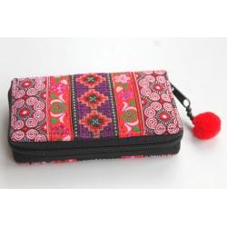 Geldbörse Brieftasche Portemonnaie groß Hmong Stoff - BÖRSE682