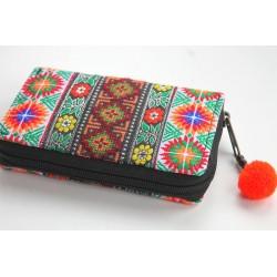 Geldbörse Brieftasche Portemonnaie groß Hmong Stoff - BÖRSE683
