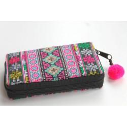 Geldbörse Brieftasche Portemonnaie groß Hmong Stoff - BÖRSE684