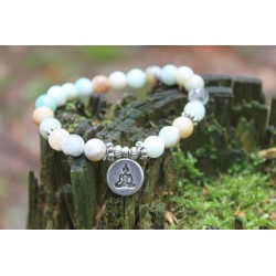 Armband aus Amazonit 8 mm Perlen Yogaarmband 17,5 cm Innenumfang Buddha Anhänger