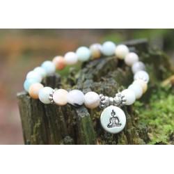 Bracelet in Amazonit8 mm beaded yoga bracelet 17.5 cm inner circumference OM pendant