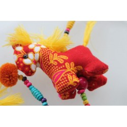 copy of Hanging decoration 3x horse made of fabric wooden beads 105 cm