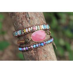 Wickelarmband dreilagig Rhodonit Perlen Armband Yoga Meditation Heilwirkung