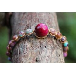 Jaspis Perlenarmband mit schöner, großer rötlicher Perle