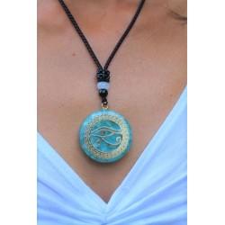 Orgonite Orgon Anhänger mit Kette Horusauge Hellblau Spiritualität Energie